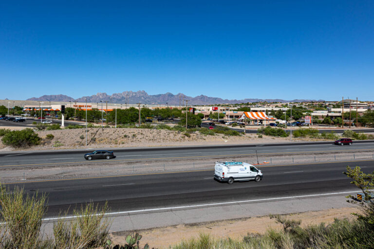 View of the Organ Mountains and The Home Depot in Las Cruces, New Mexico.