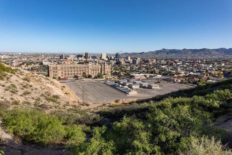 Downtown El Paso, Texas, from Tom Lea Upper Park. The beautiful, old brick building is El Paso High School.