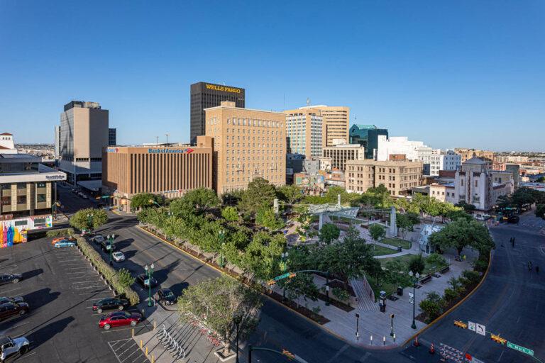 Downtown El Paso, Texas, overlooking San Jacinto Plaza.