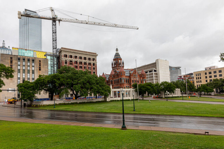 View from the grassy knoll at Dealey Plaza, Dallas, Texas.
