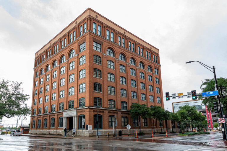 The School Book Depository building at Dealey Plaza, Dallas, Texas.