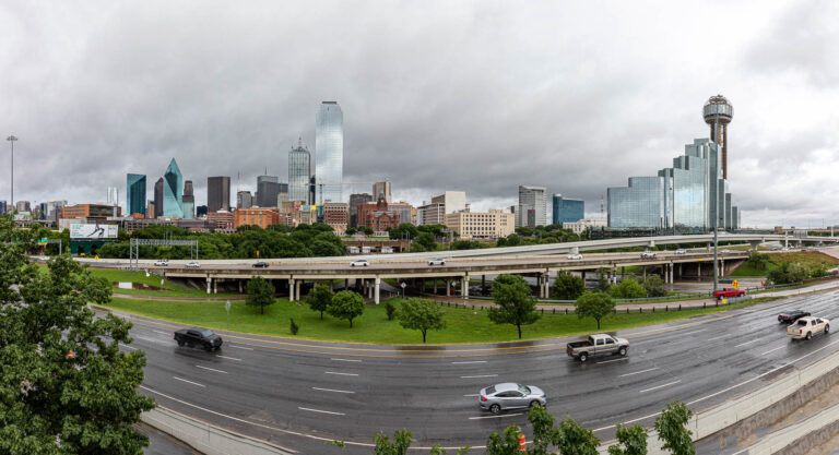 Panorama of downtown Dallas, Texas, on a rainy day.