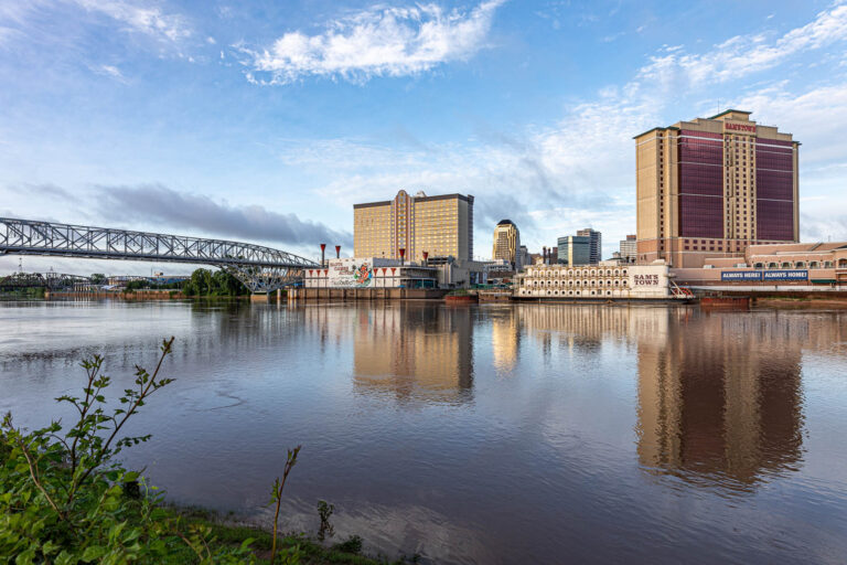 Downtown Shreveport Louisiana, from the Boardwalk along the Red River.