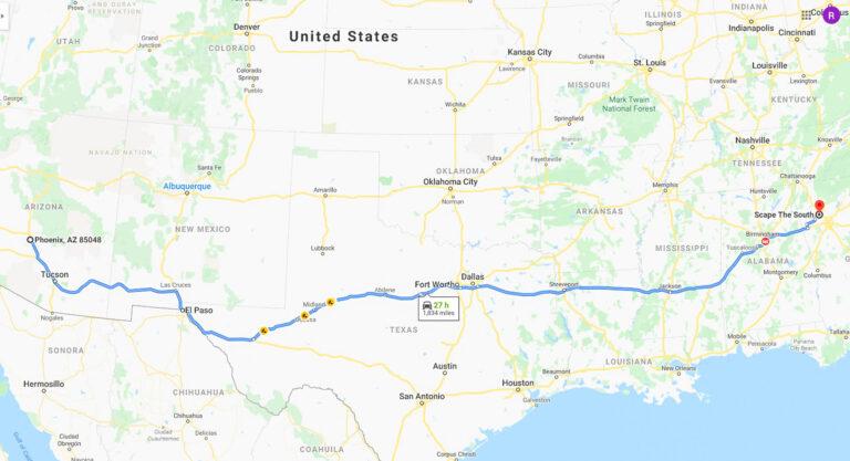 My route from Phoenix, Arizona to Atlanta, Georgia.