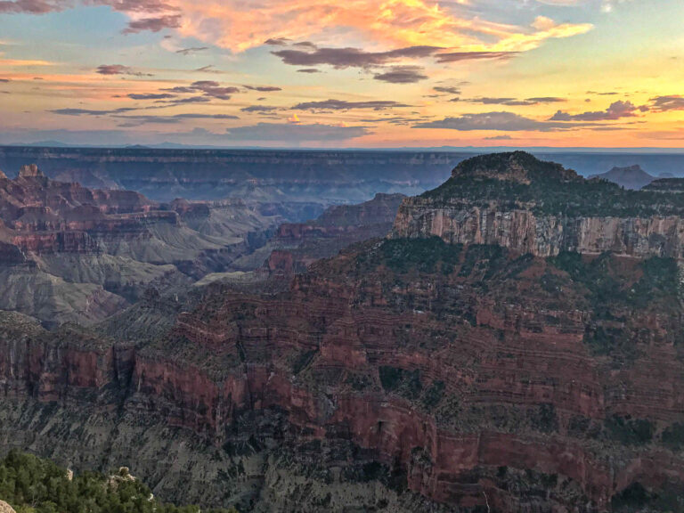 Grand Canyon - sunset on the North Rim from Bright Angel Point looking across to the south rim.