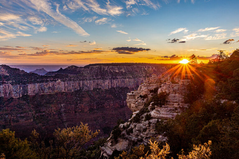 Grand Canyon - sunset over the North Rim from Bright Angel Point.
