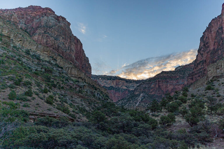 Grand Canyon - Sunrise at Roaring Springs on the North Kaibab trail.