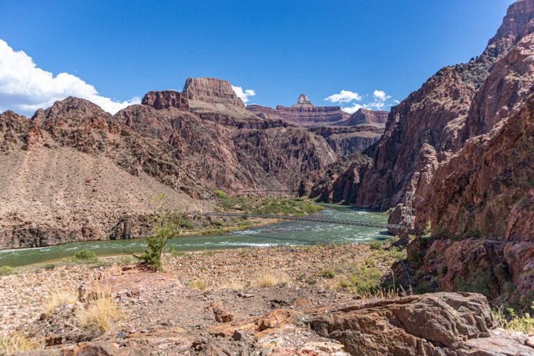 Grand Canyon - view of the Colorado River and Black and Silver bridges during our rim to rim hike.