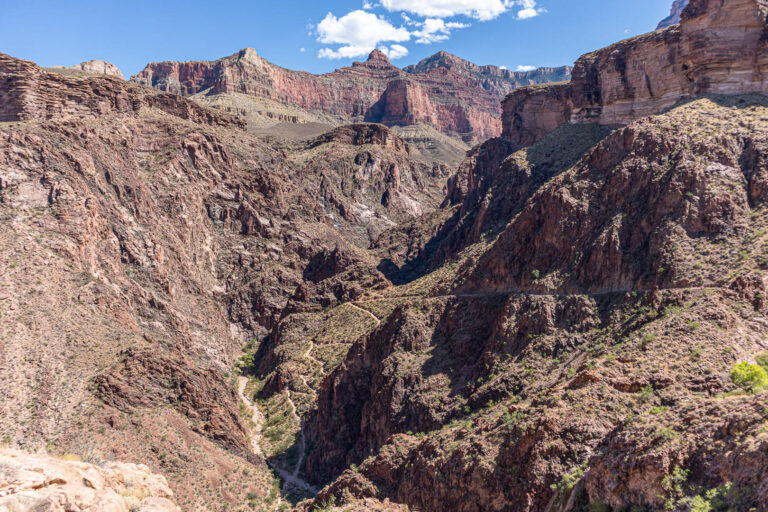 Grand Canyon - rim to rim hike along the Bright Angel trail. View of the Devils Corkscrew and the South Rim.