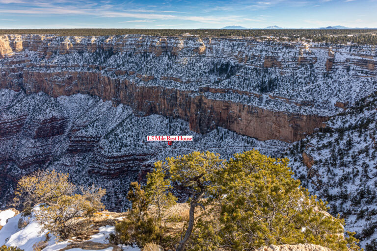 The 1.5 mile rest house circled in red at the Grand Canyon along the Bright Angel Trail.