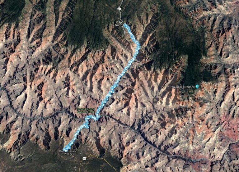 The GPS log of our Grand Canyon Rim to Rim hike from the North Kaibab trailhead to the Bright Angel trailhead.