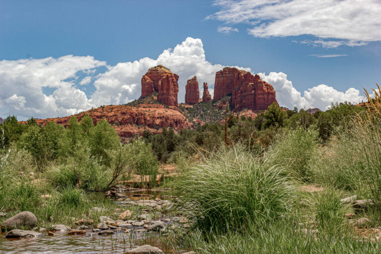About Cathedral Rock from Red Rock Crossing in Sedona, AZ