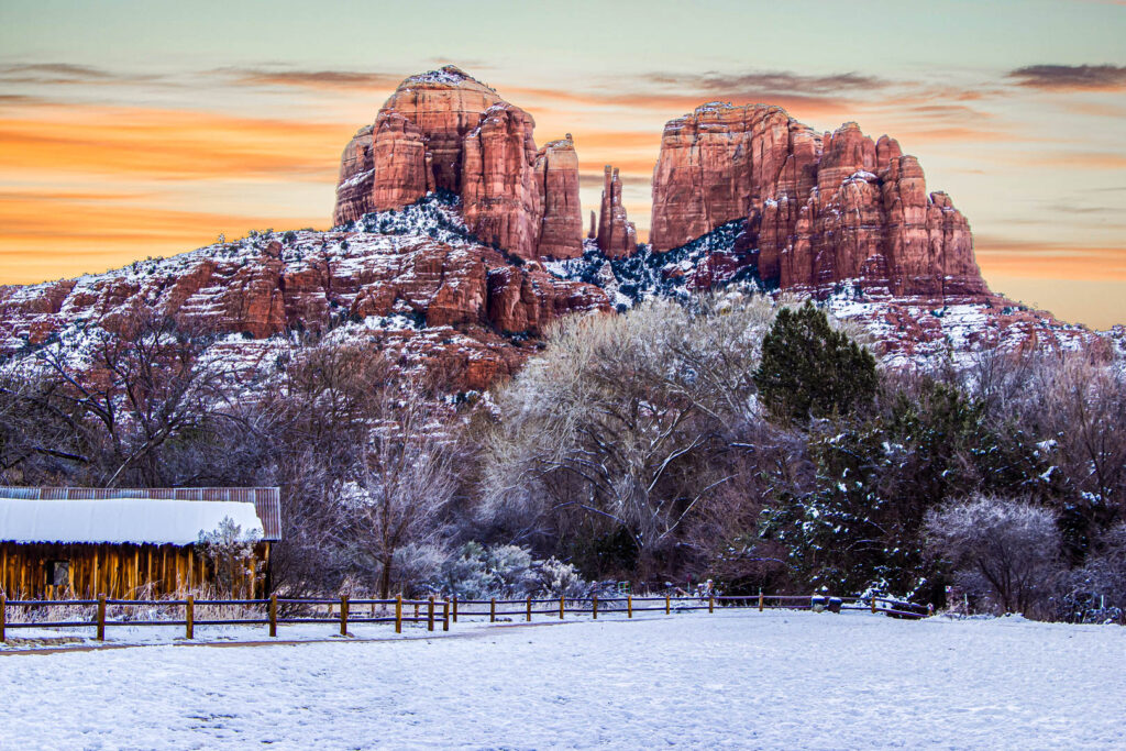 Cathedral Rock covered in snow in Sedona, Arizona at sunrise