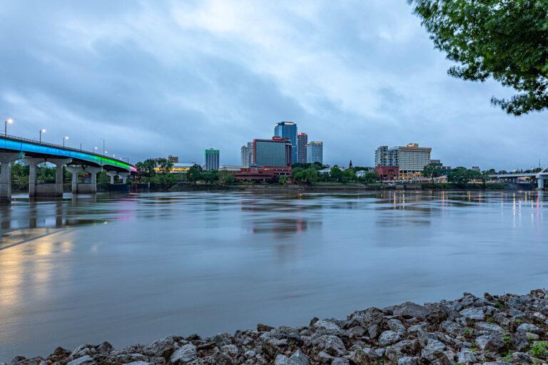 Little Rock, Arkansas, downtown skyline at sunrise from North Shore Riverwalk Park