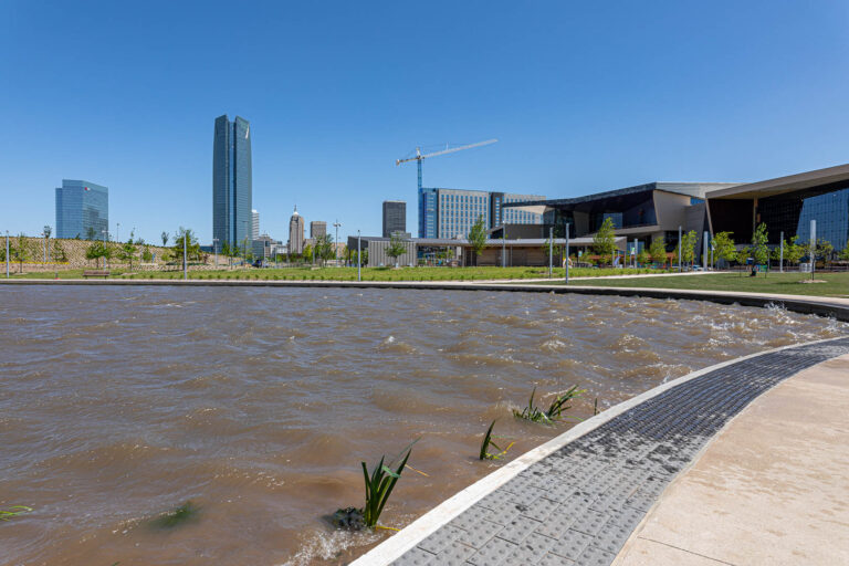 Oklahoma City - downtown skyline and new Convention Center from Scissortail Park