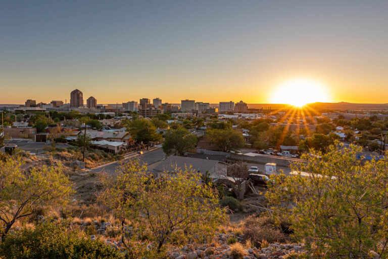 Downtown Albuquerque at sunset from Woodward PL NE